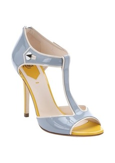 Fendi powder blue and yellow patent leather 'By The Way' t-strap sandals