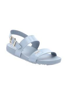 Fendi powder blue leather strappy slingback sandals