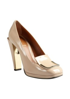Fendi powder pink patent leather buckle detail stacked heels