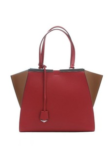 Fendi red and barley leather '3Jours' large trapeze bag