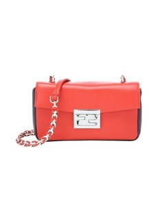 Fendi red and purple leather chain link mini shoulder bag
