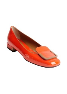 Fendi red and sand patent leather buckle flats