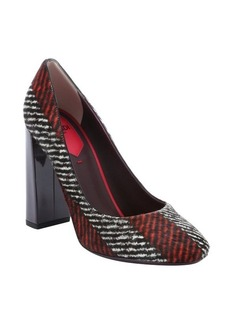Fendi red and white chevron printed leather and calf hair pumps