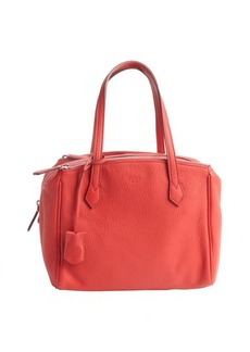 Fendi red grained leather tri-zip top handle tote