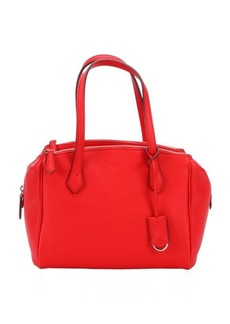 Fendi red leather triple compartment tote bag