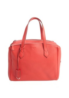 Fendi red pebbled leather top handle bag