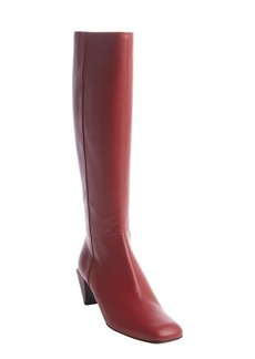 Fendi red side-zip leather heeled tall boots