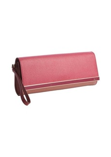 Fendi red textured leather logo engraved plaque wristlet clutch