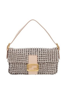 Fendi rosa fabric and leather beaded 'Baguette' convertible clutch