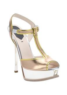 Fendi rose gold leather t-strap platform sandals