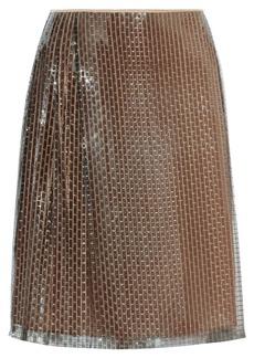 Fendi Silk-lined woven-sequin skirt