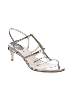 Fendi silver and gold leather t-strap sandals