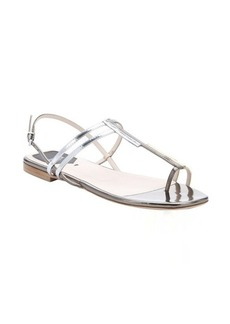 Fendi silver and gold metallic leather toe strap sandals