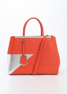 Fendi silver and orange leather '2Jours' medium convertible tote