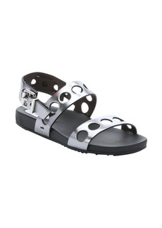Fendi silver metallic leather cut-out strappy sandals