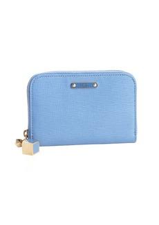 Fendi sky crosshatch leather small zip wallet