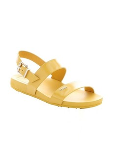 Fendi sunflower leather strappy slingback sandals