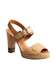 Fendi Tan lizard embossed leather block heel sandals