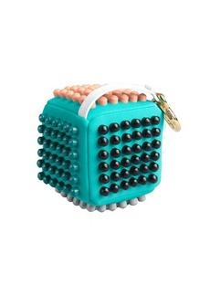 Fendi teal multi color studded neoprene cube keychain