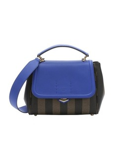 Fendi tobacco and blue neon pequin-striped coated canvas convertible top handle bag