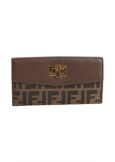 Fendi tobacco and chestnut zucca canvas continental wallet