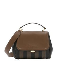 Fendi tobacco and forest pequin-striped coated canvas convertible top handle bag