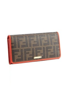 Fendi tobacco and poppy red zucca spalmati canvas leather trim continental wallet