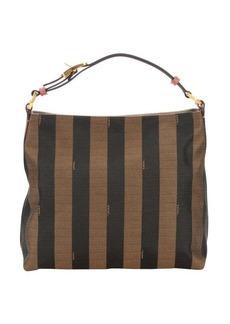 Fendi tobacco and pottery canvas top handle bag