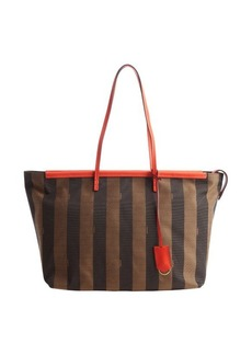 Fendi tobacco brown and bright coral canvas 'Roll' tote bag