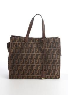 Fendi tobacco canvas leather accent zucca pattern tote