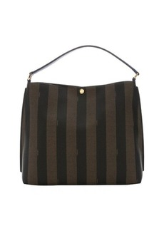 Fendi tobacco pequin-striped coated canvas and blue neon leather hobo bag
