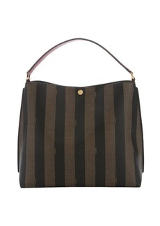 Fendi tobacco pequin-striped coated canvas and cherry leather hobo bag
