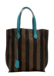 Fendi tobacco striped canvas contrast top handle tote bag