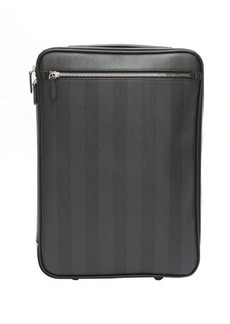 Fendi tobacco striped canvas rollaway carry-on luggage