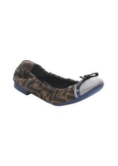 Fendi tobacco zucca canvas and grey cap toe ballet flats