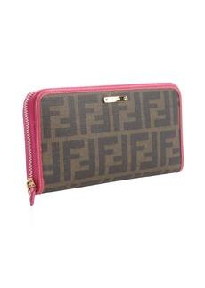 Fendi tobacco zucca canvas pink trim continental wallet