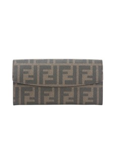 Fendi tobacco zucca print coated canvas continental wallet
