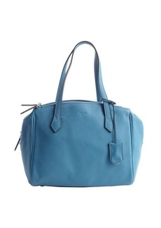 Fendi turquoise grained leather tri-zip top handle tote
