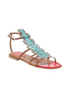 Fendi turquoise leather 'Ava' snake embossed t-strap sandals