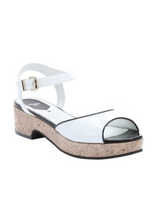 Fendi white and black patent leather platform sandals