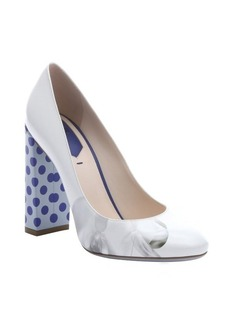 Fendi white and bluette leather polka dot heel pumps