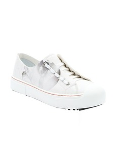 Fendi white and orange orchid and dotted print lace up sneakers