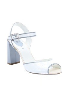 Fendi white and powder blue patent leather colorblock heel sandals