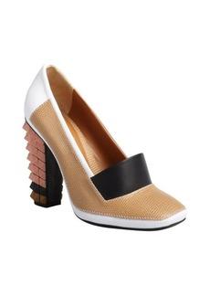 Fendi white and tan colorblock pyramid heel pumps