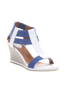 Fendi white leather and denim elastic strappy wedge sandals