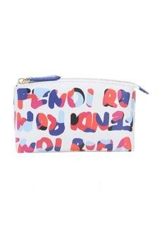 Fendi white leather logo paint splatter print cosmetic travel case