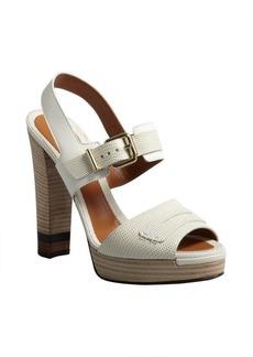Fendi white lizard-embossed leather penny loafer platform sandals