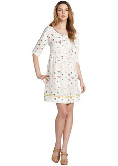 Fendi white silk graphic short sleeve dress