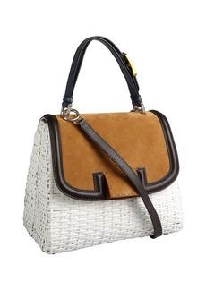 Fendi white wicker colorblock 'Silvana' satchel