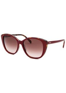 Fendi Women's Cat Eye Black and Red Light Havana Sunglasses